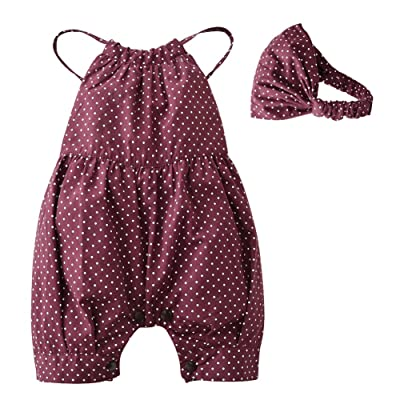 Isugar 2PCS Baby Girls Dots Romper+Headband Clothes Outfits Set