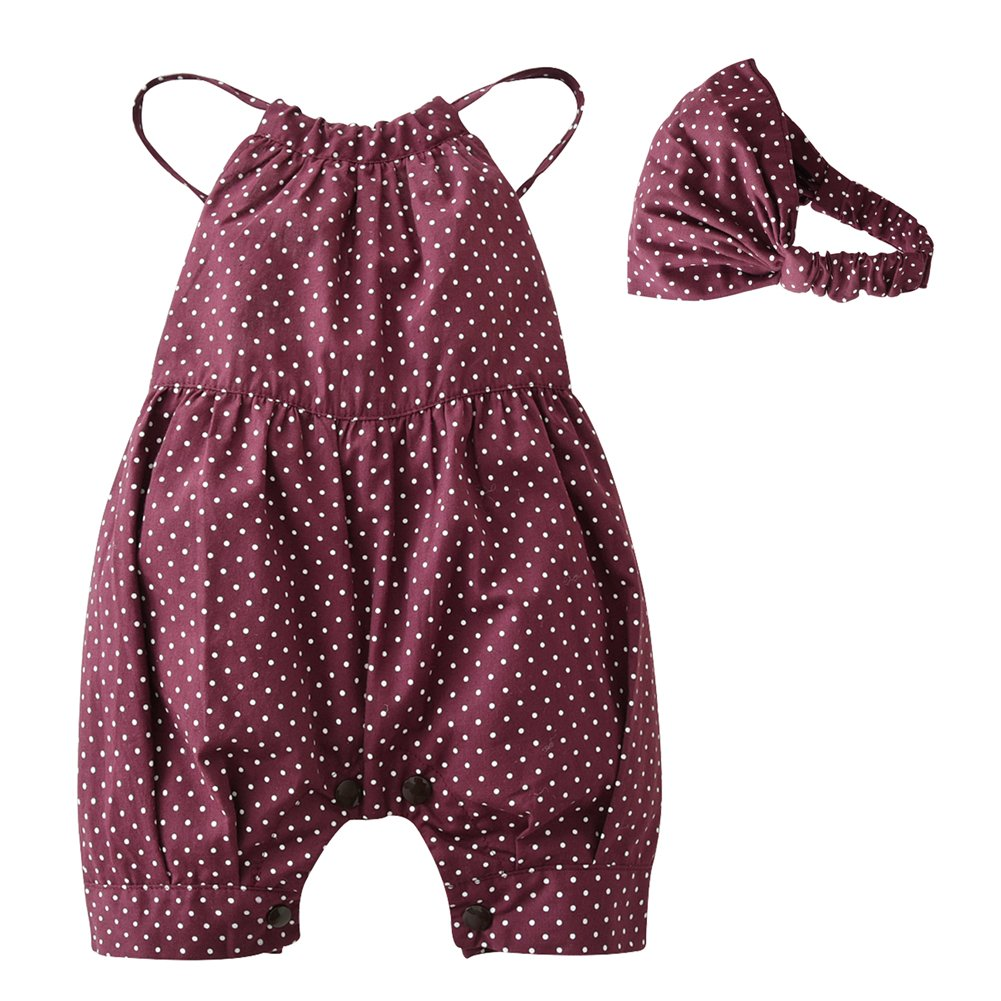 2PCS Baby Girls Dots Romper+Headband Clothes Outfits Set (12-18 Months)