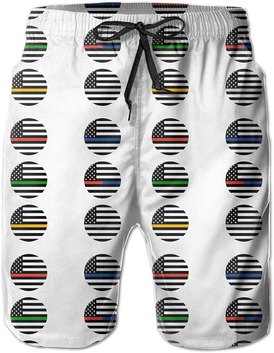 STDKNSK9 Mens American Thin Line Flag Pattern Boardshorts Swim Trunks