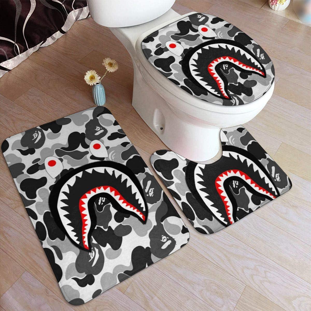 DISINIBITA Bath Mat Bape Blood Shark Bathroom Carpet Rug Non Slip 3 Piece Bathroom Mat Set
