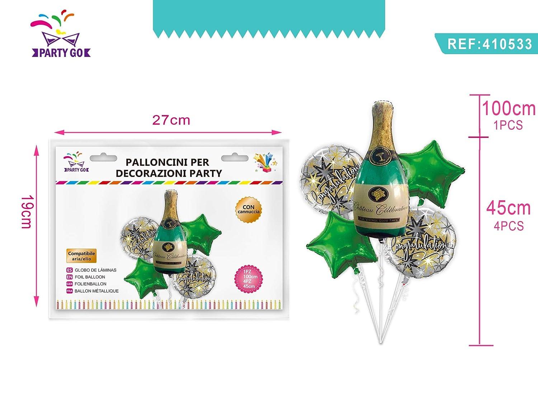 410533 Multicolore Partylandia- Set 5 pz Palloncini Mylar Congratulazioni Stelle Bottiglia Champagne Sagomati Laurea Kit Decorazione