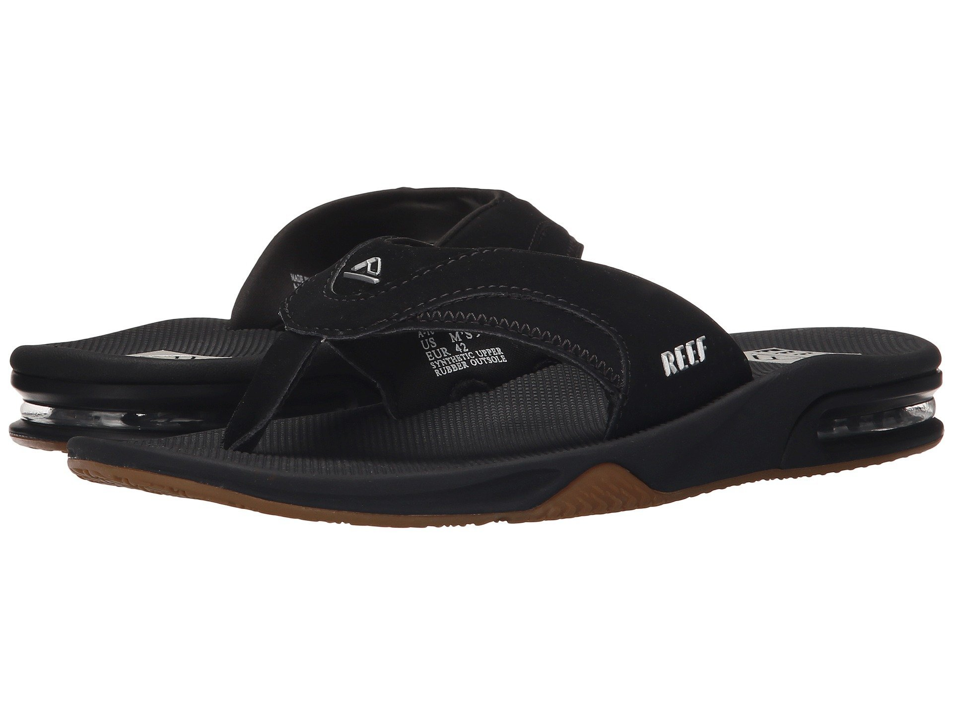 Reef Men's Fanning II Flip Flop, Black/Silver, 9 M US by Reef