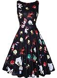 MISSJOY Womens Vintage 1950's Sleeveless Floral Rockabilly Garden Party Dress