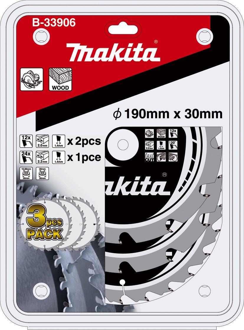 Aparoli B-33906 Lot de 3 lames de scie circulaire Makita Mak-Force190 mm pour scie circulaire sans fil