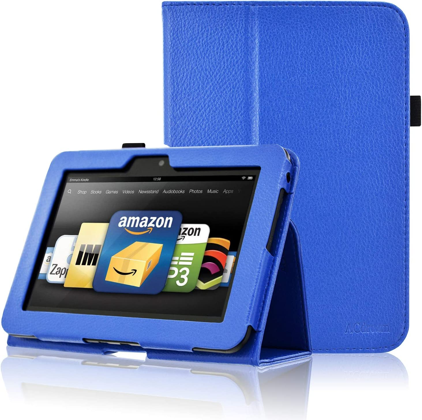 Amazon Com Acdream Kindle Fire Hd 7 2012 Case Folio Leather Cover Case For Kindle Fire Hd 7 2012 Version With Auto Wake Sleep Feather Royal Blue Computers Accessories