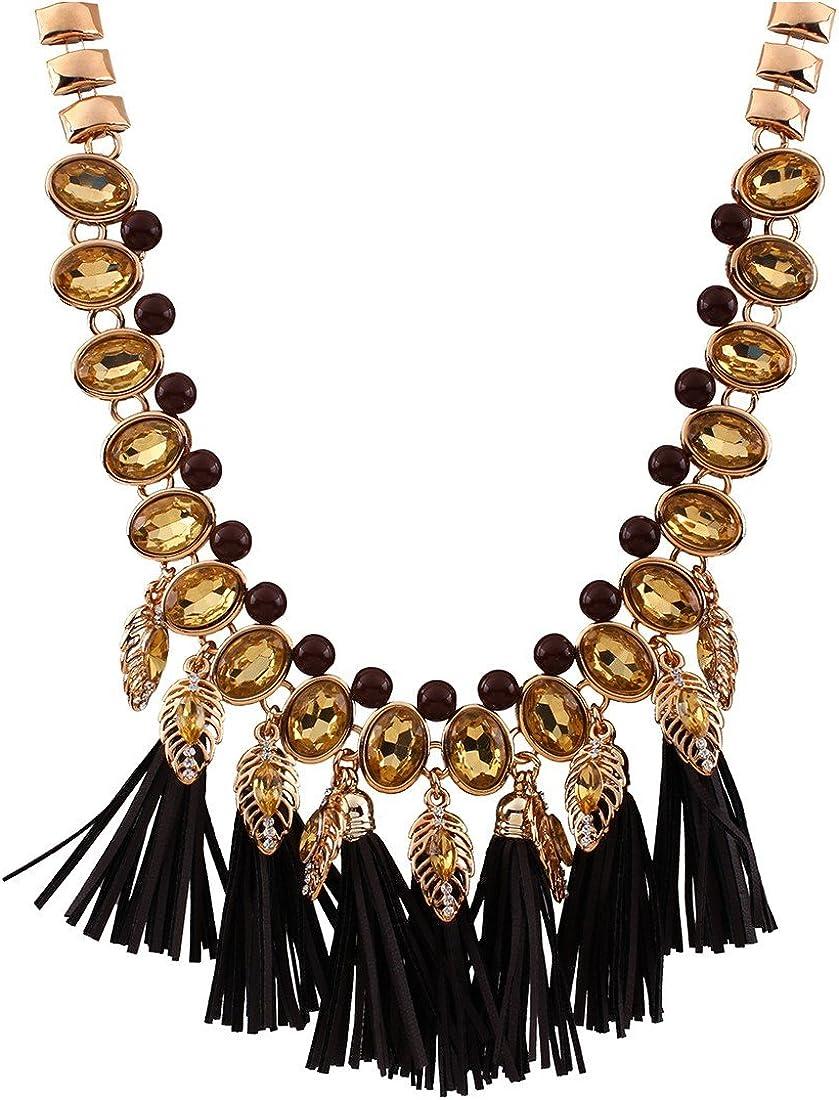 QIYUN.Z Mujeres Pendientes De Perlas De Piedras Preciosas Borla De La Cadena De Moda del Babero De La Joyeria Collar De Declaracion