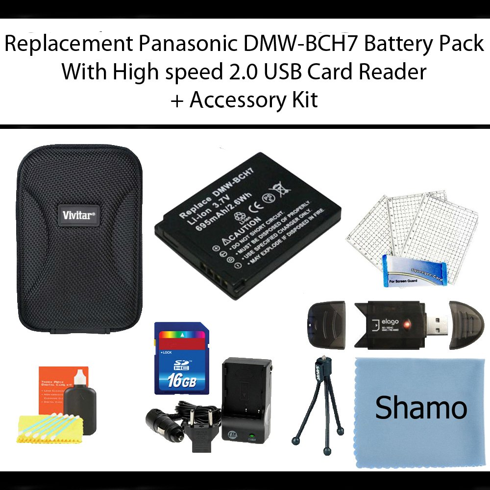 Replacement Panasonic DMW-BCH7 Battery Pack for Panasonic Lumix DMC-TS10 DMC-FP3 Digital Cameras + High Speed Memory Card Reader +16GB Memory Card +AC/DC Charger +Deluxe Hard Shell Case +Mini Tripod +Accessory Kit