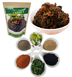 Chef Lilian's Efo Riro Kit- Nigerian West African Soup Kit with Pepper mix, Iru (locust bean), Crayfish, Seasoning Cubes, Hot Chili powder and Dehydrated Spinach, Soup Mix 5 Servings (Pack of 1)