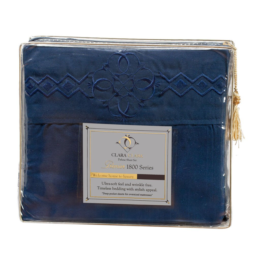Ultimate Clara Clark Premier 1800 Bed Sheet Set - with Majestic Embroidery - Full (Double) Size, Navy Blue