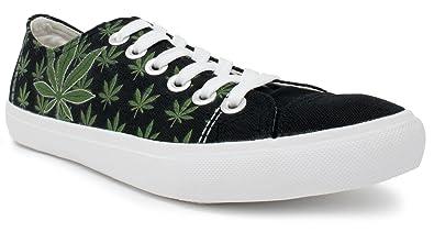 Marijuana Leaf Sneakers | Weed Pot Bud Kush Canvas Print Tennis Shoe - Women Men - (Lowtop, US Men's 7, US Women's 9)