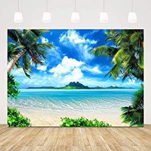 Summer Tropical Beach Backdrop Ocean Scene Photography Background 7x5ft Vinyl Seaside Palm Sand Island Blue Sky for Party Decorations Wedding Birthday Newborn Supplies Photo Booth Props Outdoor Decors