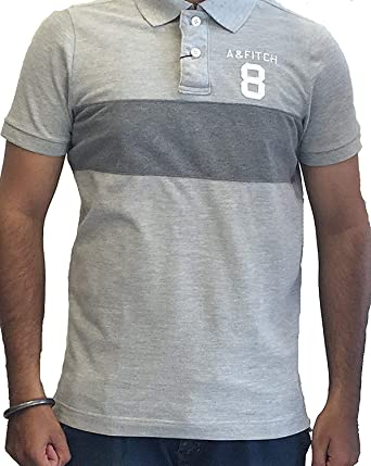 89be5552 Abercrombie & Fitch Mens Short Sleeve Muscle Fit Mesh Polo T-Shirts Grey  (Large