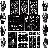 Koogel 18 Sheets Henna Tattoo Stencil Kit, 97 Pcs Temporary Glitter Airbrush Tattoo Stencils Arabian Tattoo Stickers for…