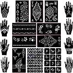 Koogel 18 Sheets Henna Tattoo Stencil Kit, 97 Pcs Temporary Glitter