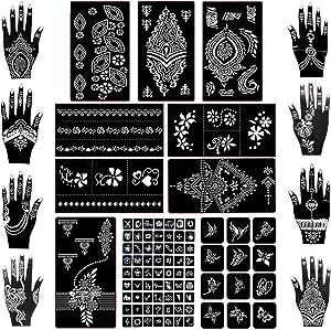 Koogel 18 Sheets Henna Tattoo Stencil Kit, 97 Pcs Temporary Glitter Airbrush Tattoo Stencils Arabian Tattoo Stickers for Face Paint Body Art