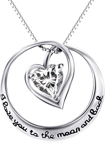 CS-DB Womens Necklaces by Silver Pendant Love Heart Mom I Love You To The Moon And Back Charm Girls