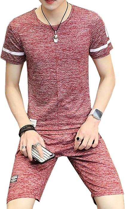 35b94240823afb SANKU メンズ ジャージ 上下セット 2点セット 丸首 半袖 tシャツ+ショートパンツ 人気