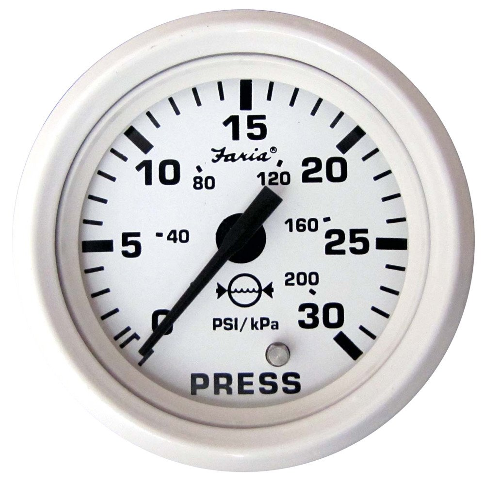 Faria Dress White 2'' Water Pressure Gauge Kit - 30 PSI
