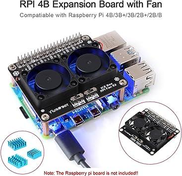 Seamuing Raspberry Pi 4B disipador de Calor de Ventilador Dual de ...