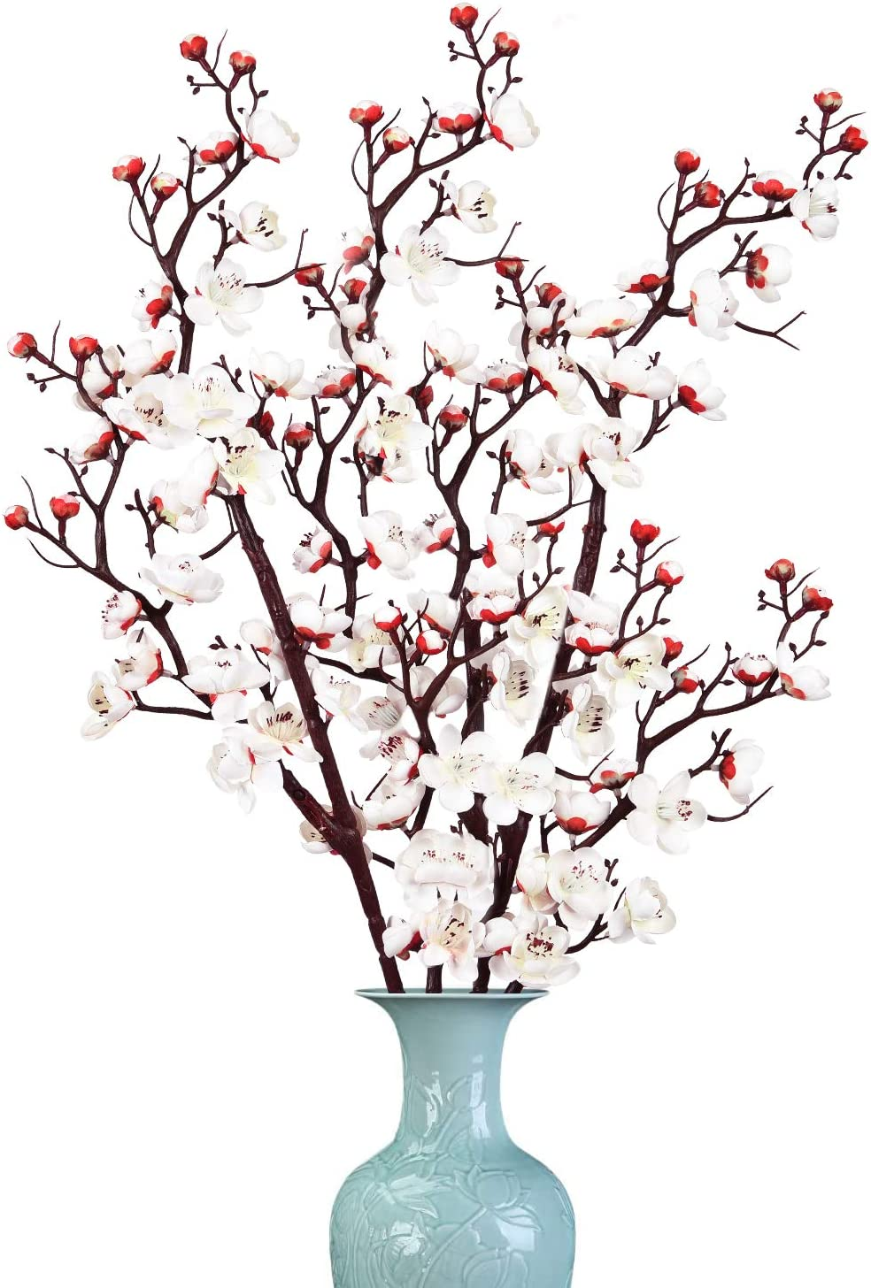 Dolicer 2 Pack Plum Blossom Artificial Flowers Simulation Flower Artificial Silk Plum Blossom Long Stem Silk Plum Blossom Branches Table Decoration Accessories Party Beach Theme Decorations