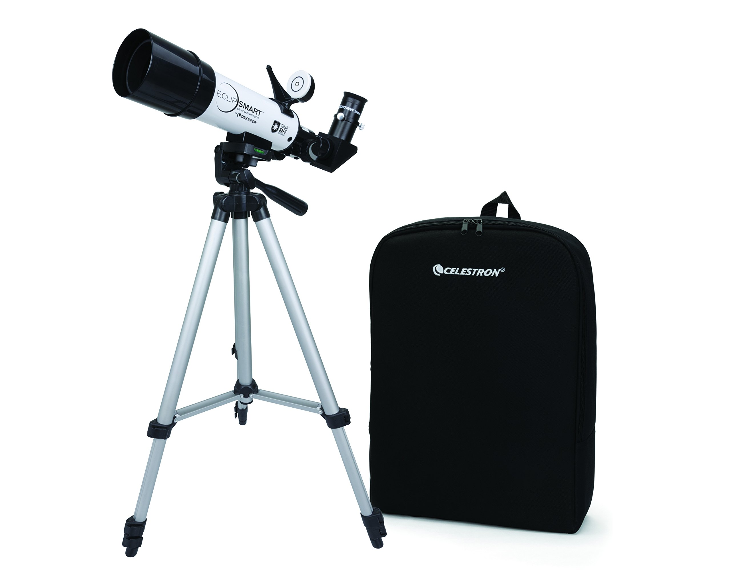 Celestron EclipSmart ISO Certified, 2017 North American Total Solar Eclipse Refracting Telescope, White (22060) by Celestron