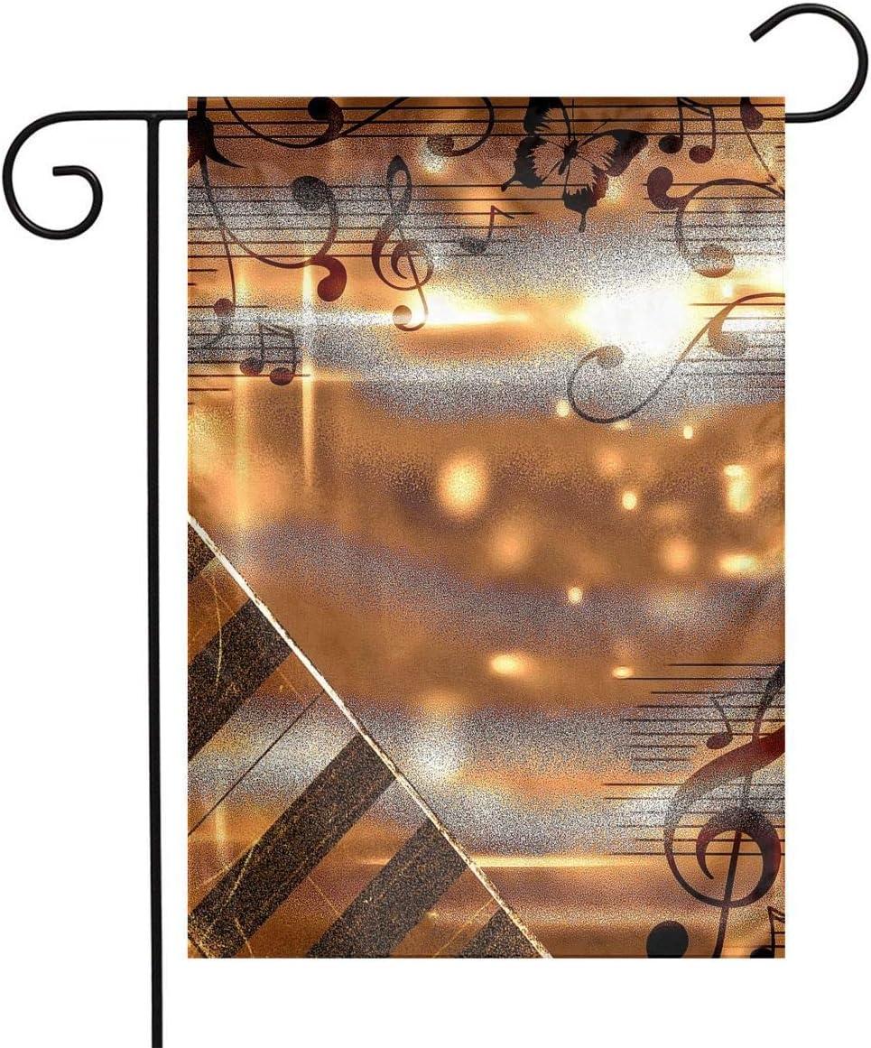 Pooizsdzzz Golden Piano Music Notes Festival Garden Flag Front Door Flag Decorative Home Outdoor Flag 1218 Inch