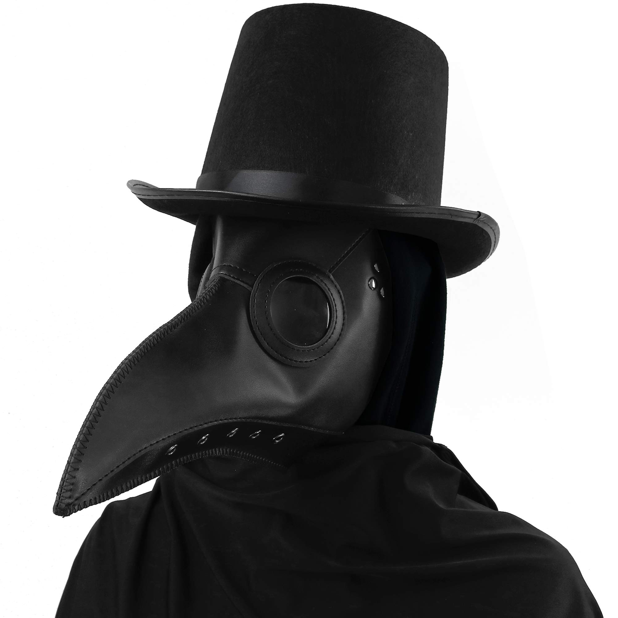 Skeleteen Medieval Doctor Plague Mask - Black Faux Leather Bird Death Doctors Mask Costume Accessory by Skeleteen
