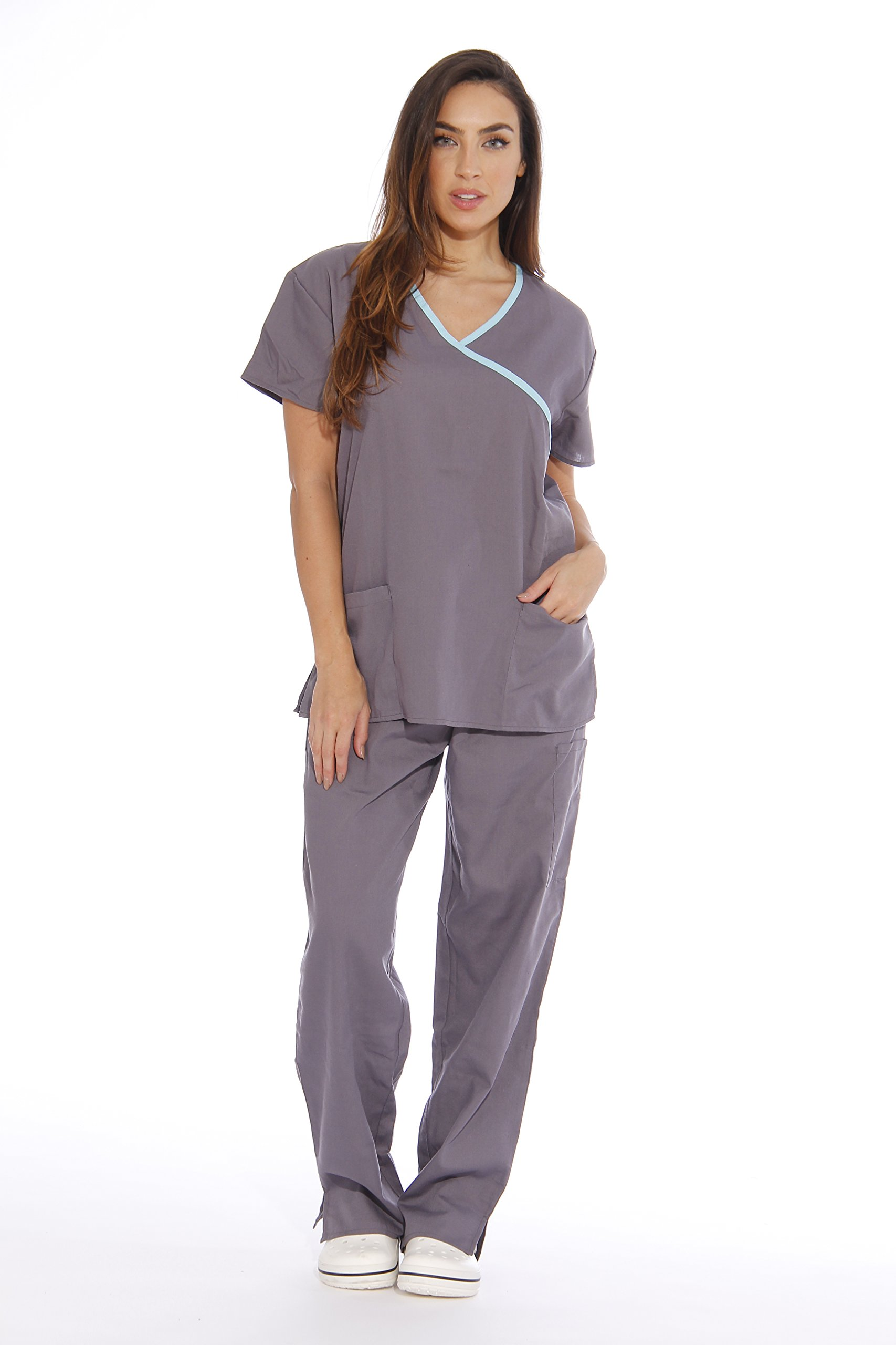 addc4ccca64 Galleon - 11150W Just Love Women's Scrub Sets / Medical Scrubs / Nursing  Scrubs - M, Steel Grey With Aqua Trim,Steel Grey With Aqua Trim,Medium