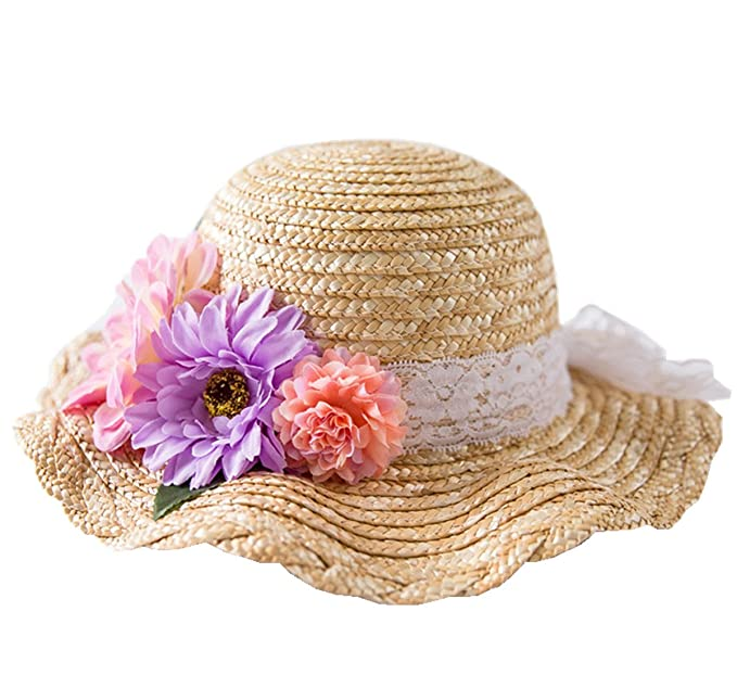 Connectyle Kids Classic Lovely Summer Straw Hat Cap Flowers Beach Sun  Protection Hats for Girls  Amazon.in  Clothing   Accessories 442b2b69560
