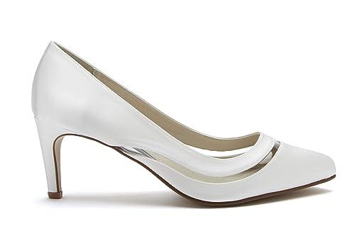 ac0ac2e9fea9 Rainbow Club Sofia - Ivory Satin   PVC Court Shoe  Amazon.co.uk ...