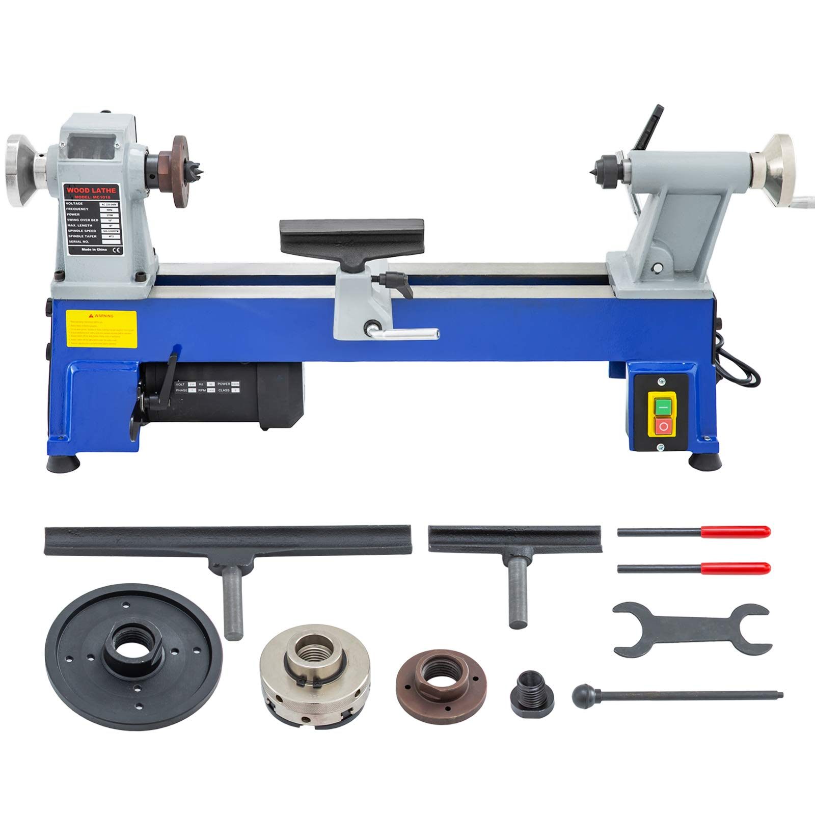 Mophorn 10 x 18 Inch Variable Speed Benchtop Mini Wood Lathe & Variable Speed 500-3200RPM & Rubber Feet (10 x 18 Inch) by Mophorn