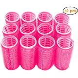 Hair Rollers, 12 Pack Self Grip Salon Hairdressing Curlers, DIY Curly Hairstyle,Colors May Vary, Medium