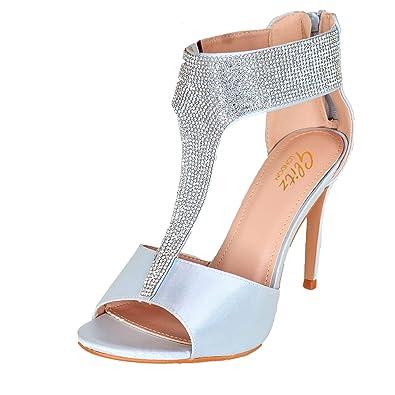 5961dbbe59c Ladies Silver Satin Diamante Tbar Strap Sandals Evening High Heel ...