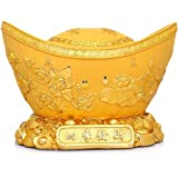 Large Size Feng Shui Golden Ingot/Yuan Bao for Wealth Luck,Chinese Charm of Prosperity Home Decoration Gift Attract Wealth and Good Luck,Feng Shui Decor