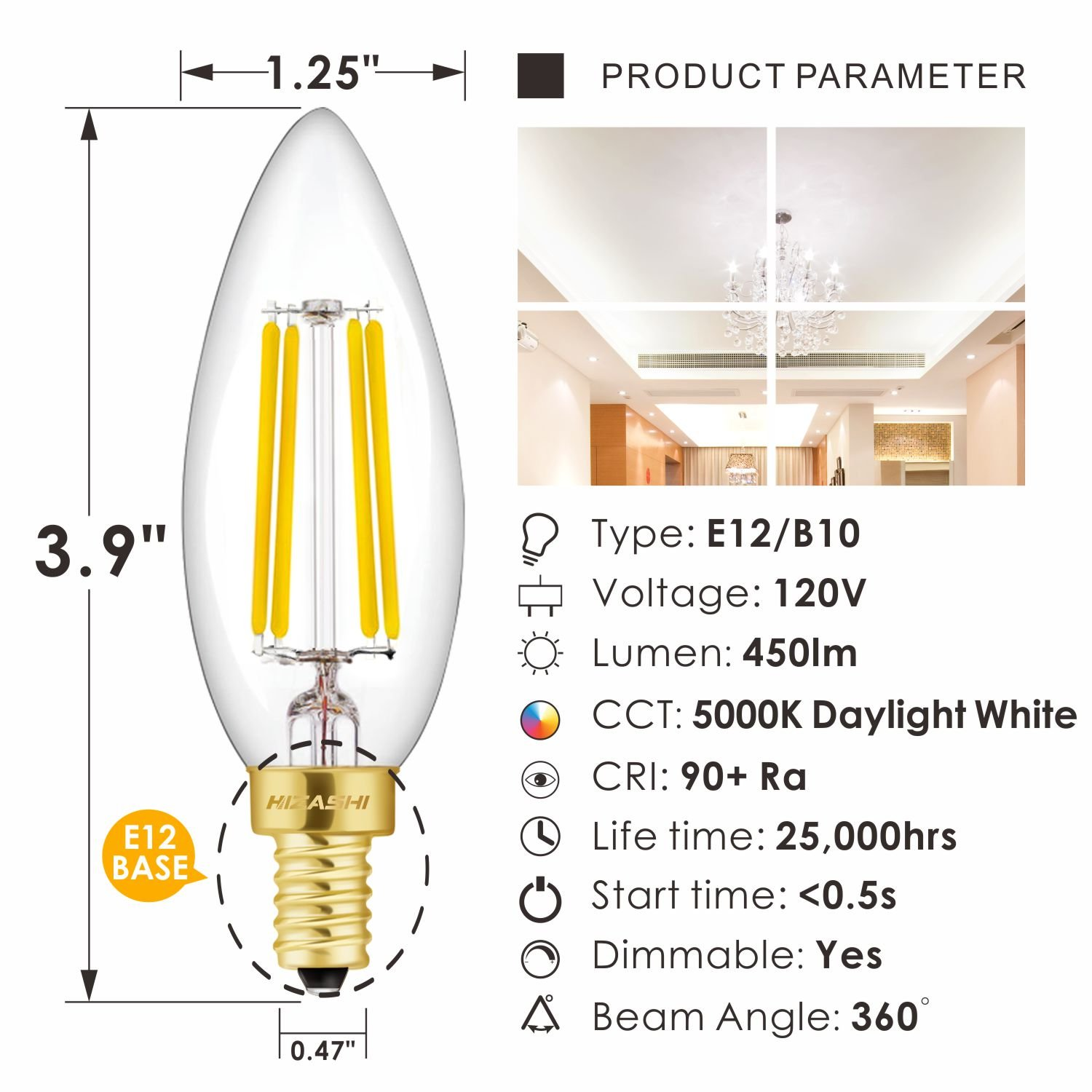 Hizashi Fully Dimmable 90 Cri E12 Led Filament Bulb 40w Equivalent 300pwh Diva 300w Electronic Low Voltage Single Pole Dimmer In White 450 Lumen B10 Ca10 Candelabra Bulbs 5000k Daylight Ul Listed