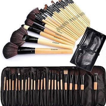 Brochas de Maquillaje,Cadrim 24pcs Maquillaje Profesional Pinceles Maquillaje de Ojos Rubor Contorno de los Labios Corrector Brochas Cosméticas + Bolso Negro: Amazon ...