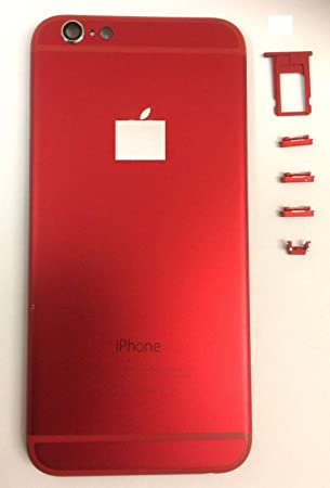 Replacement COVER Carcasa de repuesto para iPhone 6 y 6 de color rojo, carcasa trasera de batería, chasis de metal trasero y herramientas gratuitas ...