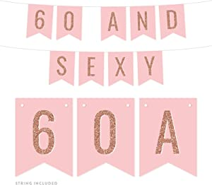 Andaz Press Blush Pink with Faux Rose Gold Glitter Birthday Party Banner Decorations, 60 and Sexy, Approx 5-Feet, 1-Set, 60th Birthday Milestone Colored Hanging Pennant Decor Supplies