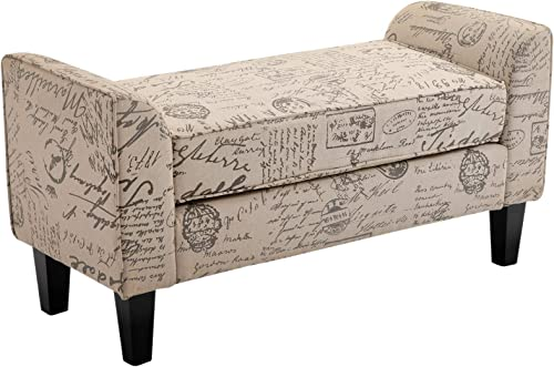 HOMCOM 41 Modern Linen Armed Entryway Bench, Signature Print with Cream White Parchment Background