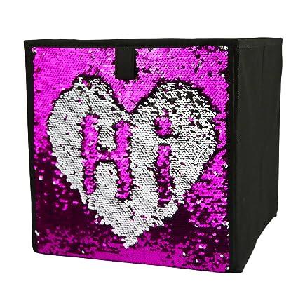 Two Tone Sequins Storage Bins Fabric Foldable Cube Organizer  Drawer,12u0026quot;X12u0026quot;X12u0026quot