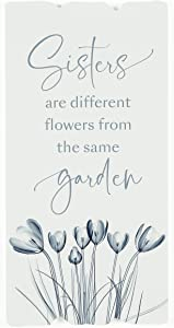 P. Graham Dunn Sisters Garden Floral Blue 11.5 x 5.80 Fence Post Look Pine Wood Sign Plaque