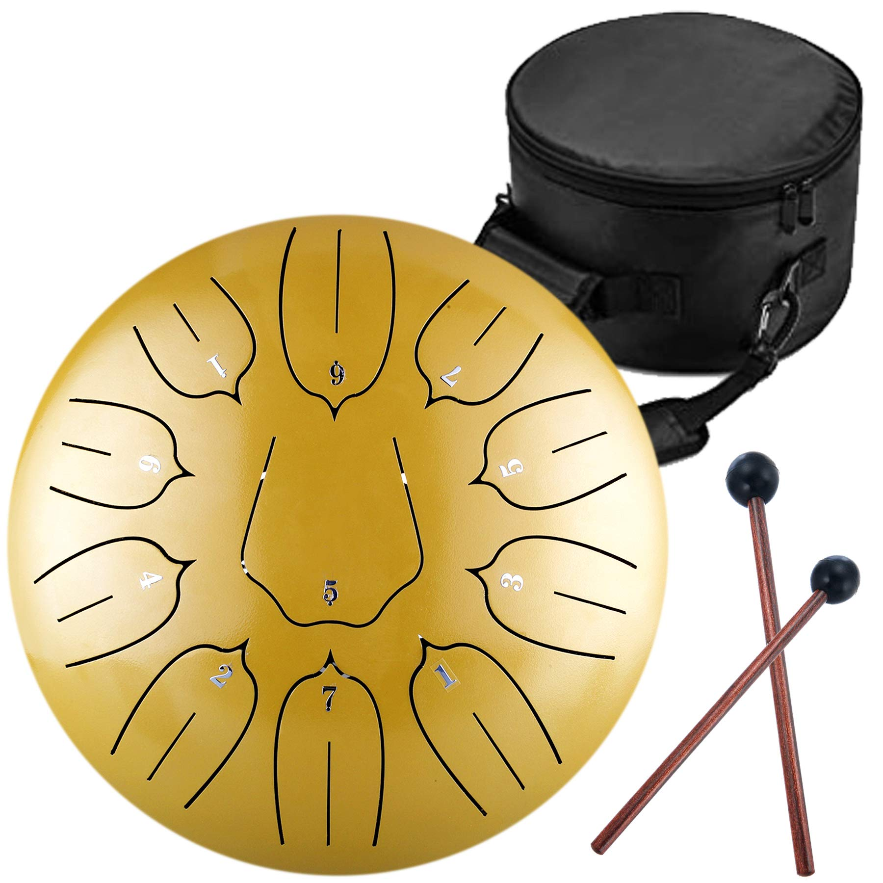 10 Inch 11 Notes Steel Tongue Drum Highest Quality D Major Percussion Hang Drum Instrument Padded Travel Bag and Mallets Included Yoga Meditation Music Therapy Lotus Gold by KELEODY (Image #1)