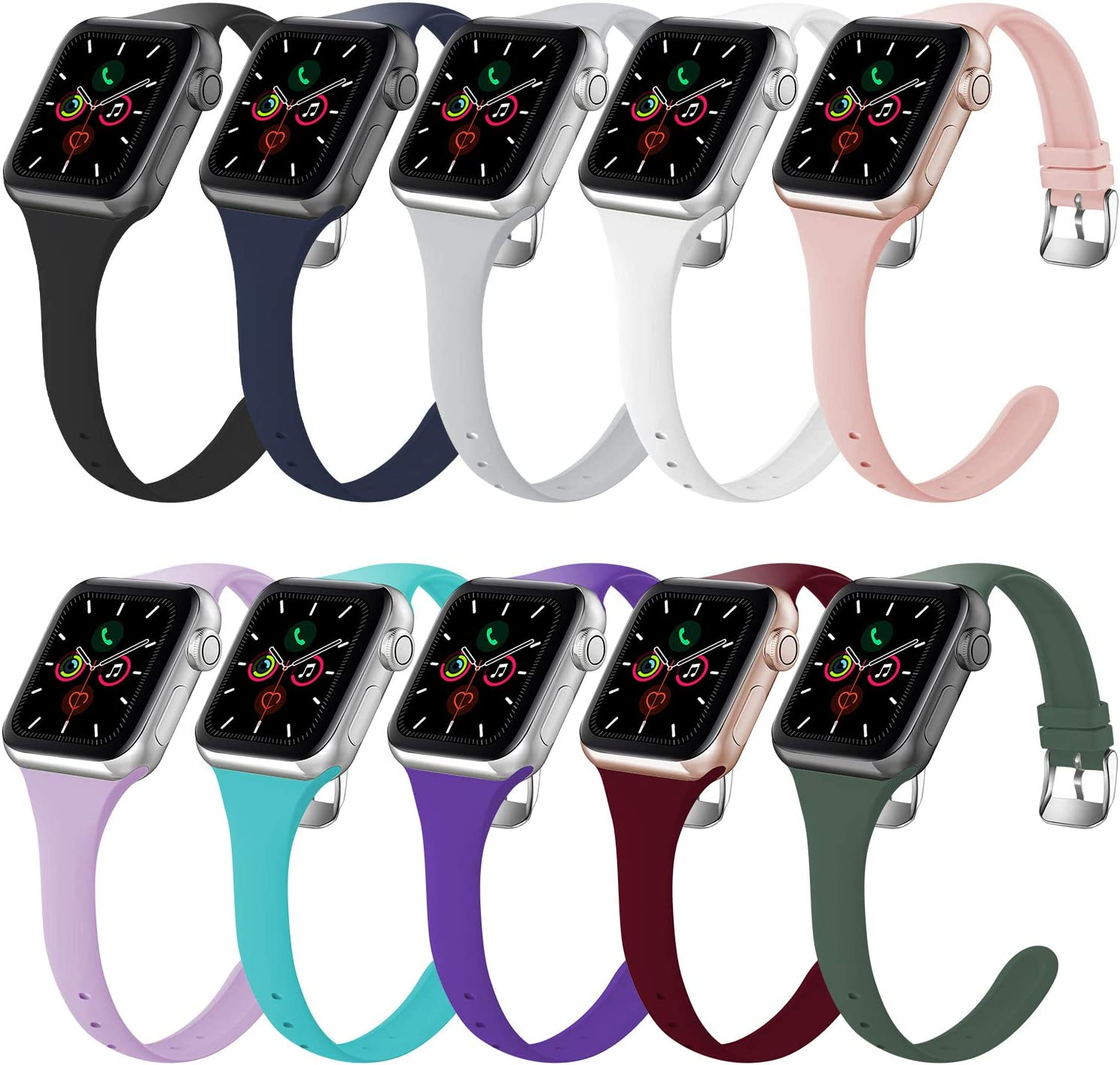 Acrbiutu Bands Compatible with Apple Watch 38mm 40mm 42mm 44mm, Thin Slim Narrow Replacement Soft Silicone Sport Accessory Strap Wristband for iWatch SE Series 6/5/4/3/2/1