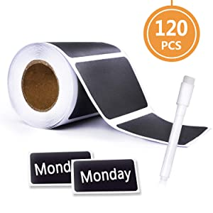 Chalkboard Labels-120 pcs Waterproof Reusable Blackboard Stickers with 1 Free Erasable Chalk Pen for Mason Jars, Parties, Craft Rooms, Weddings,Store and Decoration and Organize Your Home & Kitchen