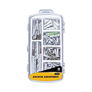 Wall-Plug Anchors W/Screws Assortment Kit. Sheetrock Wall Anchor Screw Hardware Set. Heavy Duty 75 LBS Self Drilling - Pictures TV Baby Furniture Assorted Toggle Bolts Household Maintenance DIY Tools