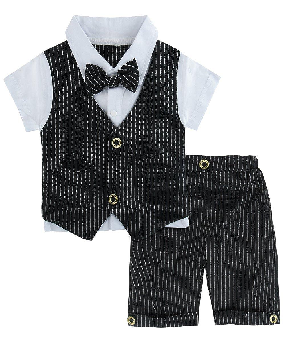 A/&J Design Baby Junge Anzug 2 TLG Gentleman Streifen Kleidung Kurzen /Ärmeln mit Bowtie