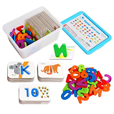 JCREN Alphabet Number Toddler Flash Cards Set,ABC Wooden Letters Numbers Animal Card Board Matching Puzzle Games Flashcards for 2 3 4 Year Olds Learning Montessori Educational Toys Gift for Girls Boys: Toys & Games