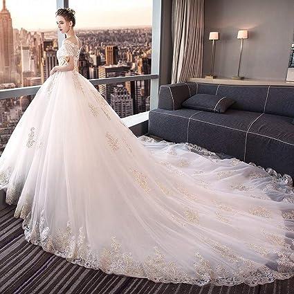 YT-ER Vestido de Novia Estilo Retro Princesa de la Corte de Fantasía Vestido de Novia de Gran Tamaño Hombro Largo Blanco de una Sola Pieza de Encaje Vestido ...