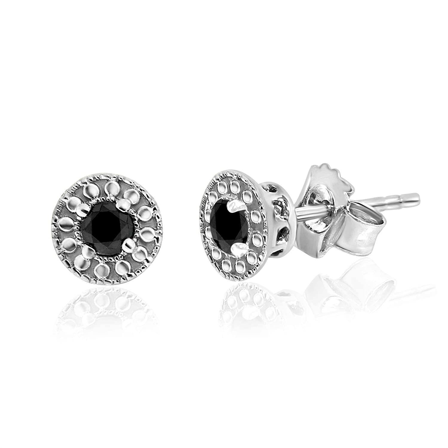 Black Stud Halo Round Earrings in Sterling Silver 0.25 Carat Weight