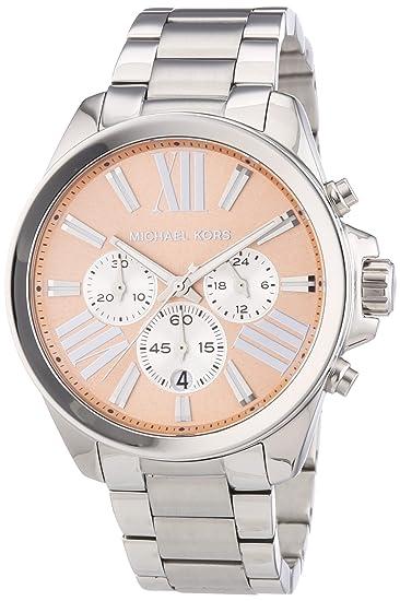 Amazon.com: Michael Kors Wren Chronograph Rose Dial Stainless Steel Ladies Watch MK5837: Michael Kors: Watches